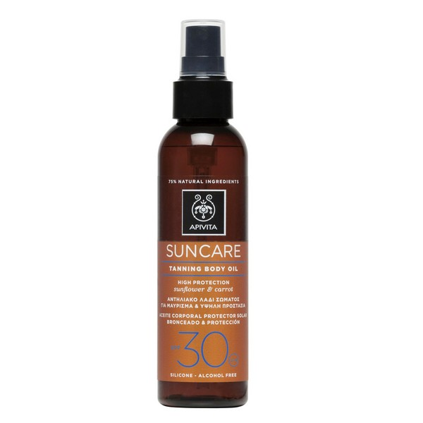 Apivita Suncare SPF30 Sunflower & Carrot Tanning Body Oil 150ml